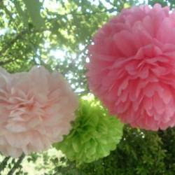 6 Tissue paper Pom Poms. Ready to fluff. Choose your colors. Party decorations