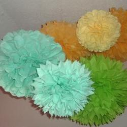 7 tissue paper poms. Wedding decorations
